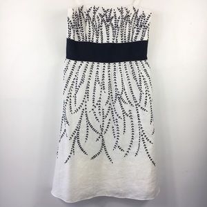Linen Embroidery Dress Floral Strapless Ann Taylor